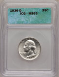 Washington Quarters: , 1936-D 25C MS63 ICG. NGC Census: (156/490). PCGS Population(266/1005). Mintage: 5,374,000. Numismedia Wsl. Price for probl...