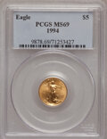 Modern Bullion Coins: , 1994 G$5 Tenth-Ounce Gold Eagle MS69 PCGS. PCGS Population (853/6).NGC Census: (1442/323). Mintage: 206,380. Numismedia Ws...