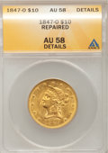 Liberty Eagles: , 1847-O $10 --Repaired--ANACS. AU58 Details. NGC Census: (86/20).PCGS Population (9/9). Mintage: 571,500. Numismedia Wsl. Pr...