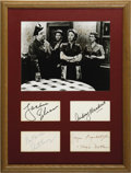 """Movie/TV Memorabilia:Autographs and Signed Items, """"The Honeymooners"""" Autograph Display. A collection of signatures byHoneymooners stars Jackie Gleason, Audrey Meadows, A...(Total: 1 Item)"""