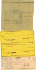 Movie/TV Memorabilia:Documents, Two Blank Checks and One Signed Check from Marilyn Monroe'sAccount, plus Home Layout .The lot includes a cancelled check fr...(Total: 4 Item)