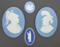 Ceramics & Porcelain, British:Modern  (1900 1949)  , A GROUP OF FOUR ENGLISH JASPERWARE MEDALLIONS . Wedgwood, Burslem(Stoke-on-Trent), Staffordshire, England, circa 1920. Mark...(Total: 4 Items)