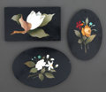 Decorative Arts, Continental:Other , A GROUP OF THREE ITALIAN PIETRE DURE PLAQUES . Maker unknown, probably Florence, Italy, circa 1900. Unmarked. 4-1/4 x 3 inch...