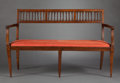 Furniture , AN ITALIAN FRUITWOOD SETTEE . Maker unknown, possibly Rome, Italy, circa 1800. Unmarked. 36 x 58 x 24-3/4 inches (91.4 x 147...