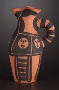Ceramics & Porcelain, A FRENCH EARTHENWARE PITCHER. After Pablo Picasso, Vallauris, France, circa 1963. Marks: EDITION PICASSO, V. 101 EDITION P...