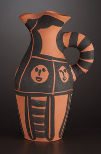 A FRENCH EARTHENWARE PITCHER After Pablo Picasso, Vallauris, France, circa 1963 Marks: EDITION PICASSO, V. 1