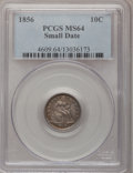 Seated Dimes, 1856 10C Small Date MS64 PCGS. Fortin-116, R.4....
