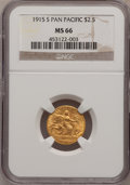 Commemorative Gold: , 1915-S $2 1/2 Panama-Pacific Quarter Eagle MS66 NGC. NGC Census:(510/113). PCGS Population (385/20). Mintage: 6,749. Numis...