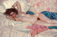 HARVEY T. DUNN (American, 1884-1952) Reclining Nude, 1939 Oil on canvas 25.5 x 39.5 in. Signed