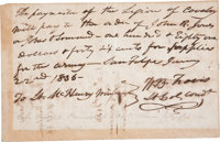 "William B. Travis Autograph Document Signed ""W. B. Travis / Lt. Col. Comdt."" One page, 7.75"" x 5"", S..."