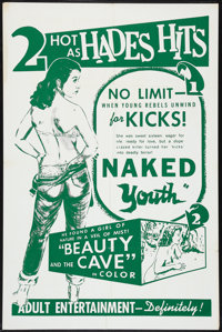 "Naked Youth/ Beauty and the Cave (Cinema Associates, Inc., R-1961). One Sheet (27"" X 41""). Exploitation"