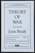 Books:First Editions, Joan Brady. Theory of War. A Novel. New York: AlfredA. Knopf, 1993. Uncorrected proof of the first American edi...