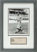 Autographs:Checks, 1930 Ty Cobb Signed Check Display....