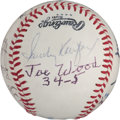 Autographs:Baseballs, 1980's Ten Shutouts in a Season Multi-Signed Baseball....