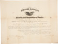 """Autographs:U.S. Presidents, Ulysses S. Grant Appointment Signed """"U. S. Grant"""" aspresident and countersigned by Treasury Secretary Benjamin H.Brist..."""