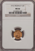 Commemorative Gold: , 1916 G$1 McKinley MS66 NGC. NGC Census: (327/64). PCGS Population(575/61). Mintage: 9,977. Numismedia Wsl. Price for probl...