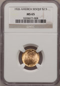 Commemorative Gold: , 1926 $2 1/2 Sesquicentennial MS65 NGC. NGC Census: (977/90). PCGSPopulation (1685/120). Mintage: 46,019. Numismedia Wsl. P...