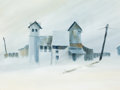Western, FROM THE COLLECTION OF SUSAN & ALLEN COLES. C.C. FAUBION (American, 20th Century). The Old Mill. Watercolor on paper. ...