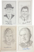 """Autographs:U.S. Presidents, Nine Sketches of Presidents and One First Lady, All Signed. Allnear 5"""" x 8.5"""" and signed in the lower margin. Presidential ...(Total: 10 Items)"""