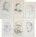 "Autographs:Authors, Sketches of Seventeen Authors Signed. All are near 5"" x 8.5"" and signed in the lower margin. Subjects include Edna Ferber, E... (Total: 17 Items)"