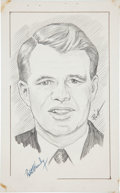 """Autographs:Statesmen, Sketch of Robert F. Kennedy Signed. The pencil sketch, by New Yorkartist John E. Raitt, is 5"""" x 8"""". The young, popular poli..."""