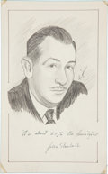 "Autographs:Authors, Sketch of John Steinbeck Inscribed. The Pulitzer Prize-winning novelist inscribes and signs this sketch, ""It is about 60% ..."