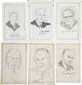 "Autographs:Statesmen, Sketches of Six Supreme Court Justices Signed. Each is near 5"" x8.5"" and signed in the lower margin by the subjects, which ...(Total: 6 Items)"