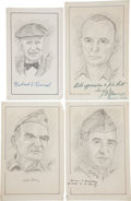 "Autographs:Military Figures, Sketches of Fifteen Military Figures Signed. Each is near 5"" x 8.5"" and signed in the lower margin by the subjects, which in... (Total: 15 Items)"