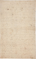 """Autographs:Military Figures, Eighteenth Century Colonial Pennsylvania Indian Wars: James McAllister Autograph Letter Signed. One page, silked, 7.5"""" x 12""""..."""