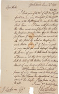"""Autographs:Military Figures, Colonial Yorktown: Autograph Letter Signed concerning """"prisoners from Canada."""" One page, 7.25"""" x 11.5"""", Yorktown, Decemb..."""