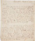 "Autographs:Non-American, Eighteenth Century Description of America: John Lewis GuillemardAutograph Letter Signed. Three pages, 7.5"" x 8.75"", Philade..."
