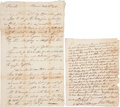 Autographs:Military Figures, Pennsylvania during the Revolutionary War: Two Letters. In the first letter, Samuel Hunter (Sunbury, July 30, 1778) informs ... (Total: 2 Items)