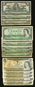 Canadian Currency: , Oh, Canada 1937 - 1979.. ... (Total: 24 notes)