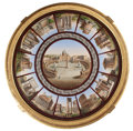 Furniture , AN ITALIAN MICROMOSAIC TABLETOP SET WITHIN GILT WOOD BASE . Maker unknown, Rome, Italy, circa 1825-1875. 30 x 37-1/4 inches ... (Total: 2 Items)