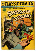 Golden Age (1938-1955):Classics Illustrated, Classic Comics #33 Adventures of Sherlock Holmes - First Edition (Gilberton, 1947) Condition: VG-....