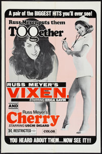 "Vixen!/Cherry Combo (Eve Productions, R-1970s). One Sheet (27"" X 41""). Sexploitation"