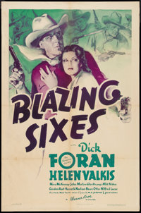 """Blazing Sixes (Warner Brothers, 1937). One Sheet (27"""" X 41""""). Western"""