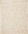 "Autographs:Statesmen, [Samuel Chase] Impeachment of Samuel Chase: William S. BiddleAutograph Letter Signed. Six pages, 8"" x 10"", Philadelphia, Ma..."