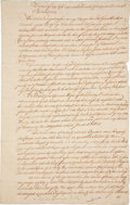 "Autographs:Non-American, Colonial Pennsylvania Letter, Dated 1727. Three pages, 8"" x 12.75"",""Capes of Delaware from on board the Ship Molly Capt. ..."