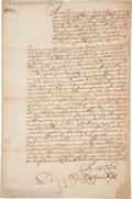 "Autographs:Statesmen, [William Penn]. Colonial Pennsylvania: David LloydSeventeenth-Century Court Document Signed. One page, 8.5"" x 13"",Philadel..."