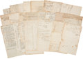 Autographs:Statesmen, Massachusetts Merchant Nathaniel Cushing Archive, dating between1784 and 1823 and including two sheets of business account ...(Total: 50 Items)