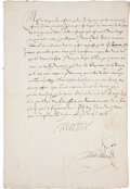 "Autographs:Non-American, Catherine de Medici Letter Signed ""Caterine."" One page, 8.5""x 13"", August 26, 1567. The letter is written in French (no..."