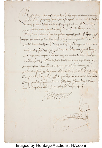 catherine de medici letter signed caterine one page 8 5 x 13