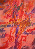 Texas, ROBERT PREUSSER (American, 1919-1992). Conflagration. Mixedmedia on canvas. 42 x 30 inches (106.7 x 76.2 cm). Signed an...