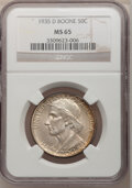 Commemorative Silver: , 1935-D 50C Boone MS65 NGC. NGC Census: (223/84). PCGS Population(292/85). Mintage: 5,005. Numismedia Wsl. Price for proble...