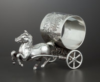 AN AMERICAN SILVER PLATE FIGURAL NAPKIN RING Middletown Plate Co., Middletown, Connecticut, circa 1870 Marks: