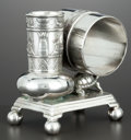 Silver Holloware, American:Napkin Rings, AN AMERICAN SILVER PLATE FIGURAL NAPKIN RING WITH VASE . DerbySilver Co., Derby (Birmingham), Connecticut, circa 1880. Mark...
