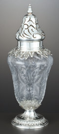 Silver Holloware, American:Other , AN AMERICAN SILVER AND GLASS MUFFINEER . Theodore B. Starr, NewYork, New York, circa 1900. Marks: THEODORE B. STARR, NEW ...(Total: 2 Items)