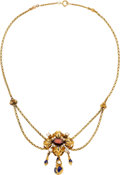 Estate Jewelry:Necklaces, Garnet, Diamond, Seed Pearl, Enamel, Gold Necklace. ...
