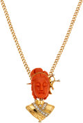 Estate Jewelry:Pendants and Lockets, Coral, Diamond, Gold Pendant-Brooch-Necklace. ...